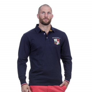 Polo manches longues bleu marine avec broderies Rugby marine