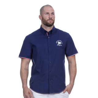 Chemise bleu marine manches courtes avec broderies French rugby club