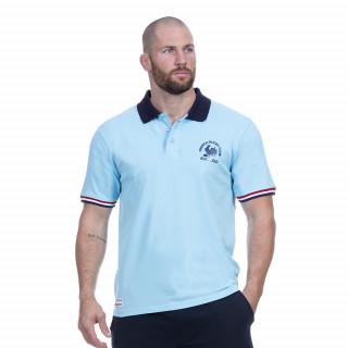 Polo bleu ciel manches courtes en coton du thème French rugby club