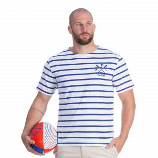 Tee-shirt manches courtes à marinière bleu et blanc avec broderie Rugby marine