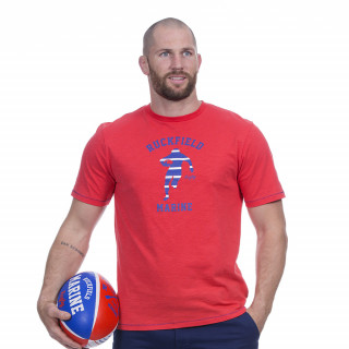 Tee-shirt manches courtes rouge avec sérigraphie Rugby marine