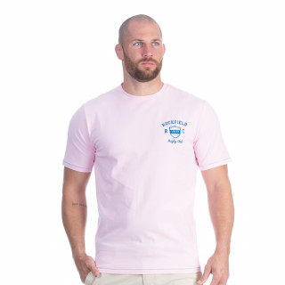 Tee-shirt manches courtes rose pale avec broderies Rugby flowers.
