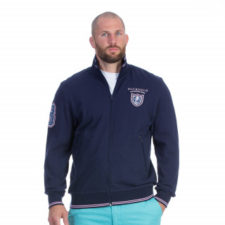 Sweat zippé manches longues bleu marine avec broderies fleuries We are rugby