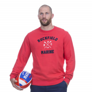 Sweat manches longues rouge avec broderie Rugby marine