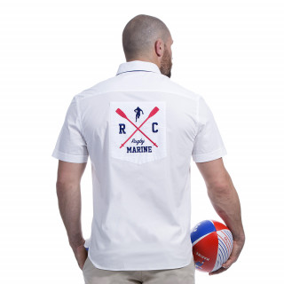 Chemise blanche rugby marine