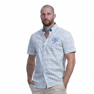 Chemise manches courtes à imprimé fleuri avec broderies Rugby flowers.