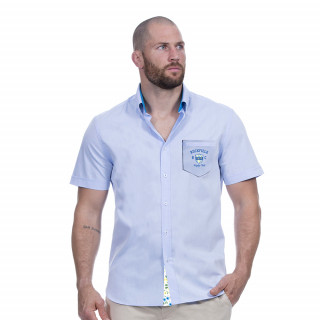 Chemise bleu rugby flowers
