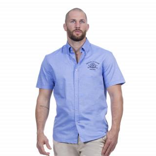 Chemise manches courtes en coton bleu ciel avec broderies Maison de rugby