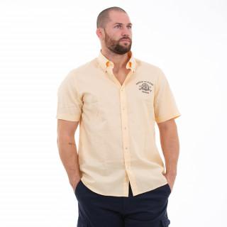 Chemise manches courtes en coton jaune avec broderies Maison de rugby