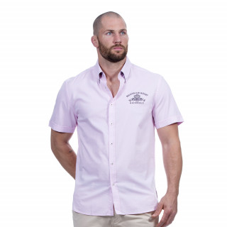 Chemise manches courtes rose avec broderies Maison de rugby