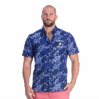 Chemise bleu manches courtes à motif estival avec broderies Rugby seven