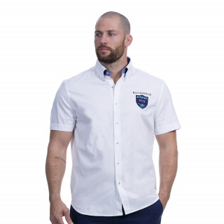 Chemise blanche manches courtes coton avec broderies fleuries We are rugby.