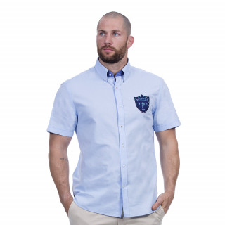 Chemise bleu ciel manches courtes avec broderies We are rugby