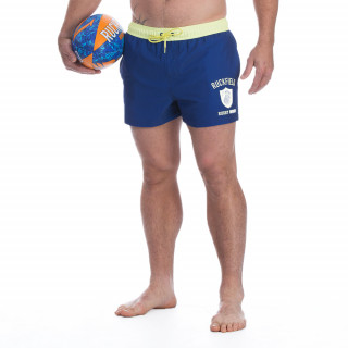 Short de bain orange avec broderie Rugby seven.