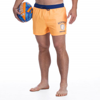 Short de bain orange avec broderie Rugby seven