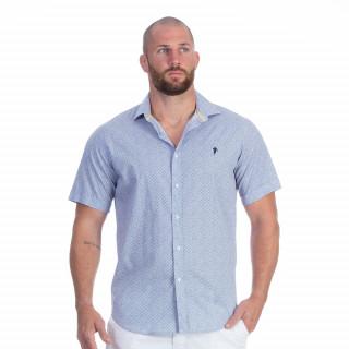 Chemise manches courtes bleu à motif du thème Rugby élégance
