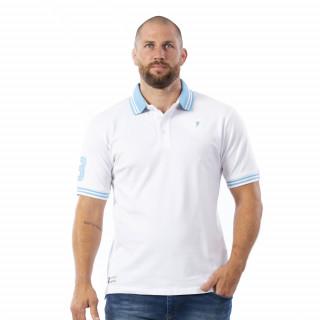 Polo manches courtes blanche avec broderies sur torse et bras