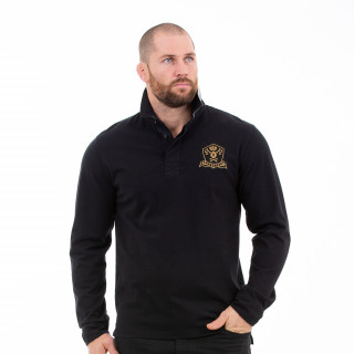 Polo noir homme manches longues rugby héritage