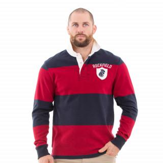 Polo de rugby en coton lourd dans un style vintage rouge et noir !