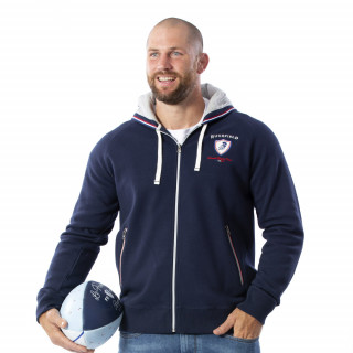 Sweat capuche zippé en manches longues French Rugby Club.