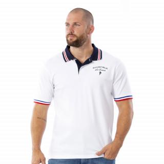 Polo French Rugby blanc en coton piqué.