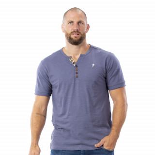 T-shirt gris boutons bois 100% coton slub bio.