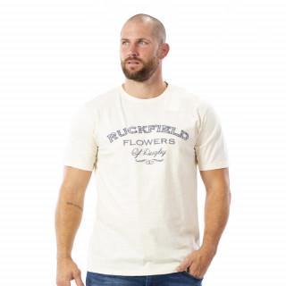 T-shirt flowers blanc 100% coton slub bio.