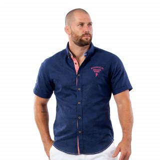 Chemise beach rugby bleu en coton et en lin.