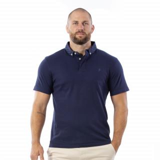 Polo rugby bleu 100% coton jersey.