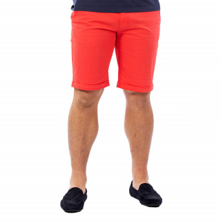 Bermuda homme chino rouge en coton.