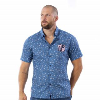 Chemise bleu fleurie we are rugby en voile de coton.
