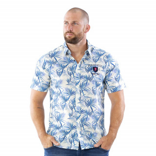 Chemise Rugby à motifs feuilles de palmier en voile de coton.