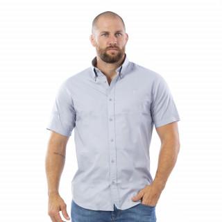 Chemise grise à manches courtes Rugby Essentiel avec logo Sébastien Chabal