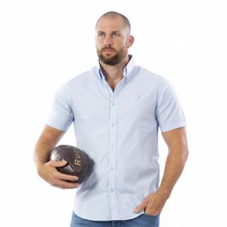 Chemise bleue à manches courtes Rugby Essentiel avec logo Sébastien Chabal