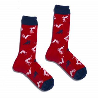 Chaussettes de Noël rouges en coton.