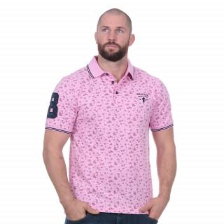 Polo Rugby club fleuri rose en coton piqué.