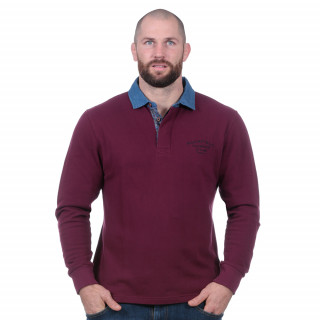 Polo manches longues molletonné bordeaux flowers of rugby