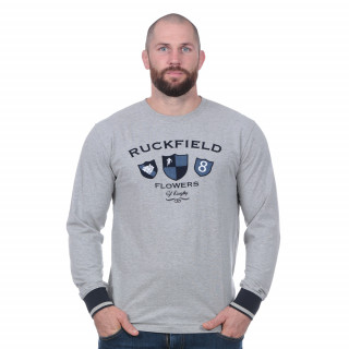 Tee-shirt flowers of rugby manches longues gris clair avec écussons poitrine