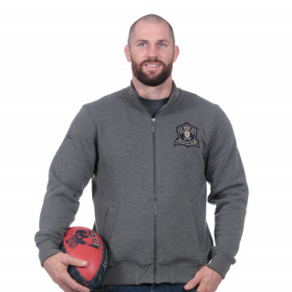 Sweat zippé rugby héritage gris clair