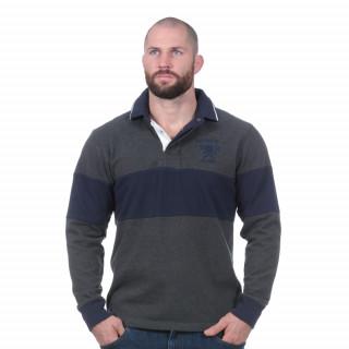 Polo manches longues rugby Heritage gris foncé
