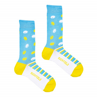 Chaussettes ballons de rugby turquoise