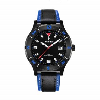 Montre en acier avec bracelet bleu et noir