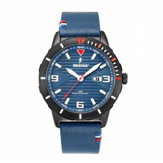 Montre sport homme étanche avec bracelet en cuir coloré ! Cadran bleu !
