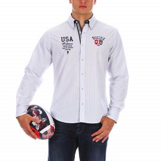 Chemise en coton rayé avec de belles broderies poitrine et des tissus contrastés sur la patte de boutonnage, sous le col et aux poignets.Disponible jusqu'au 5XL.