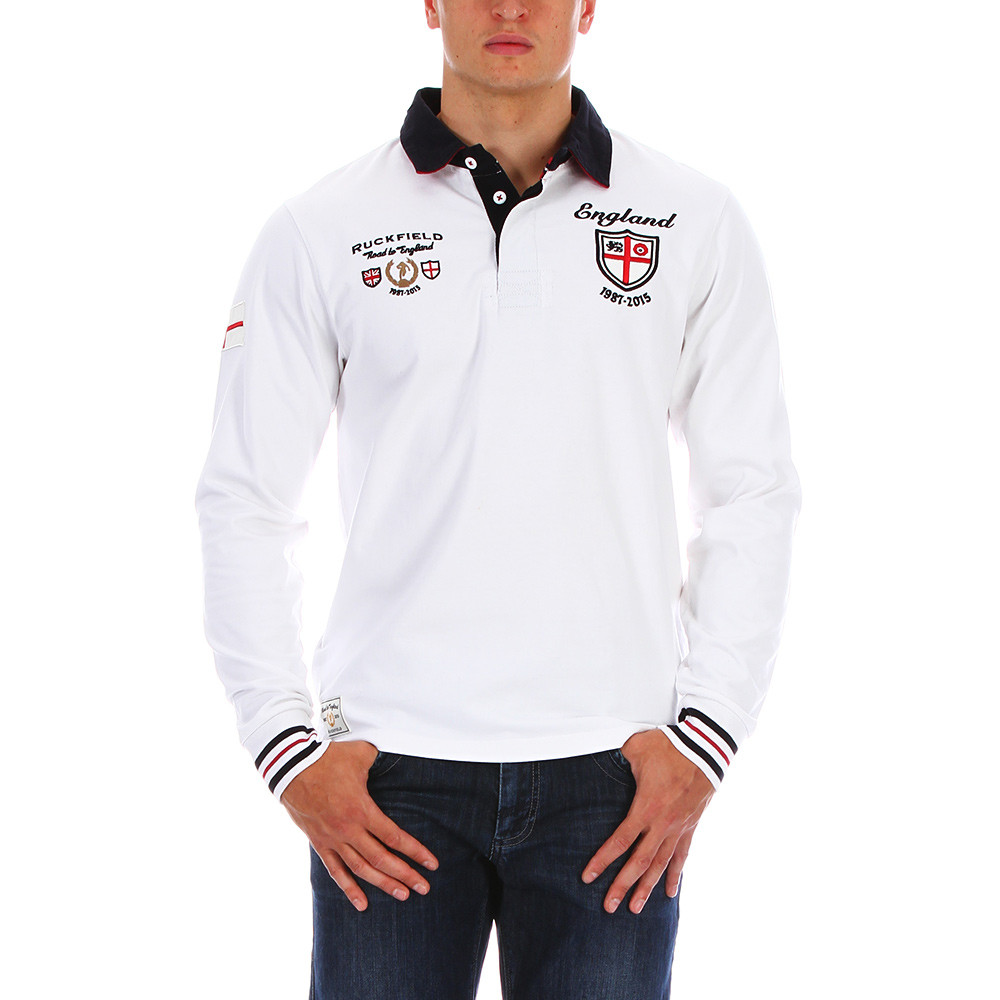 White Rugby Polo Shirt England Ruckfield