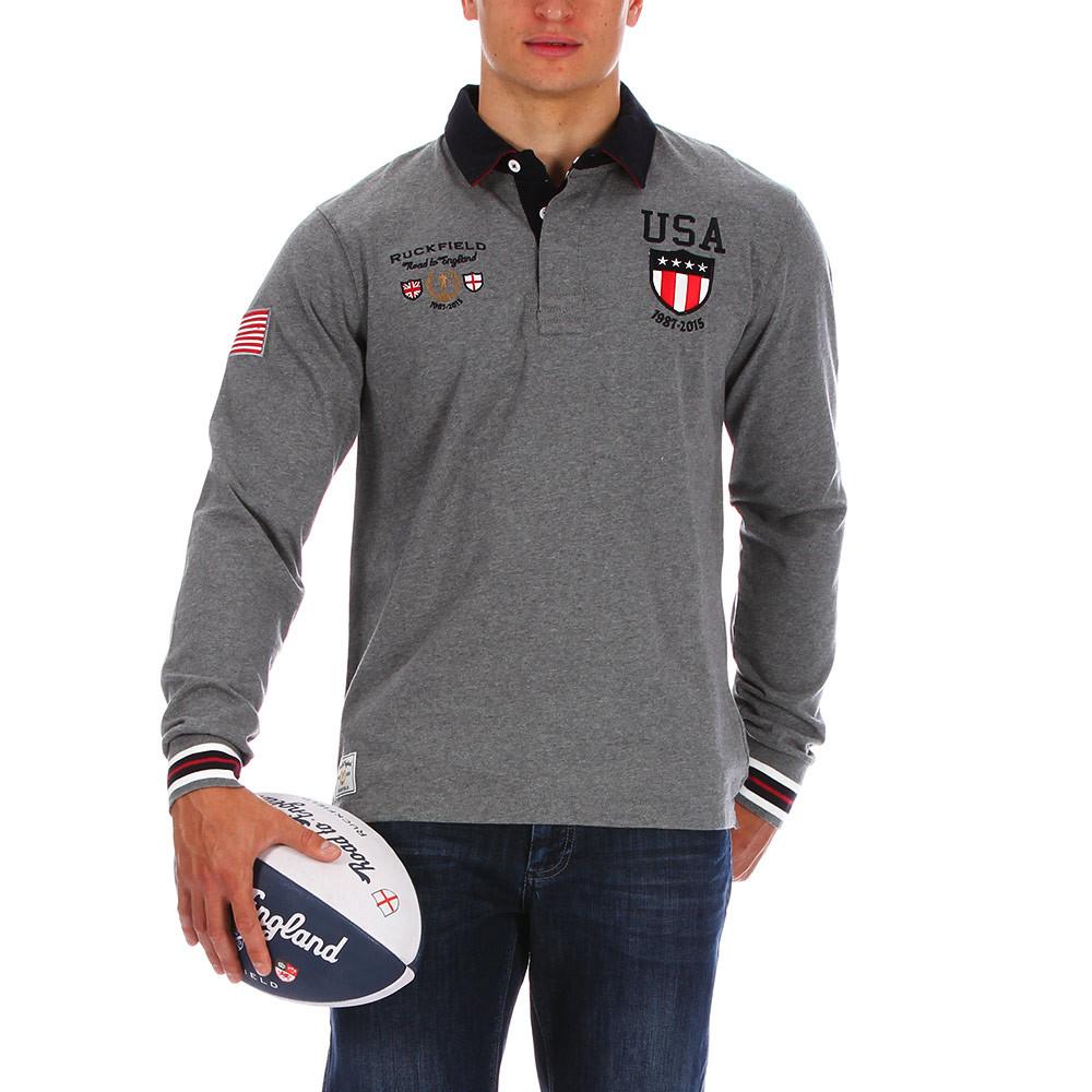 Grey Rugby Polo Shirt Usa Ruckfield