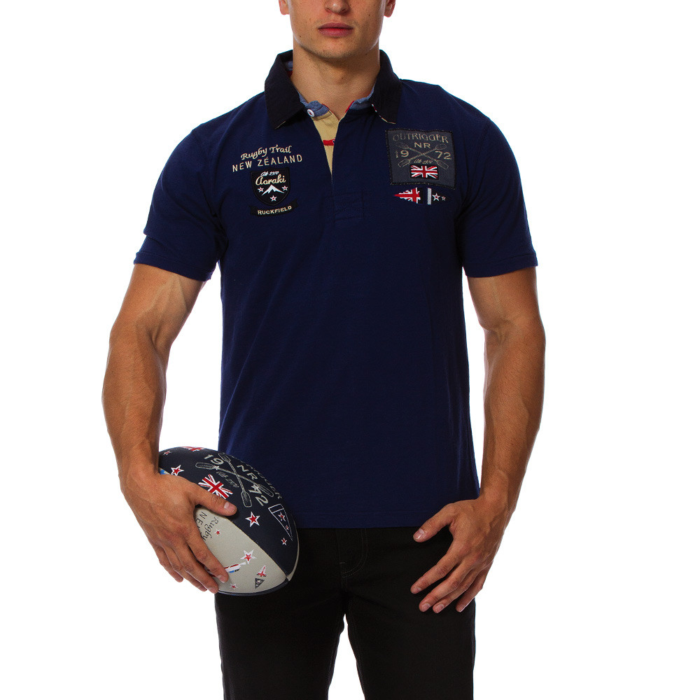Rugby camp navy blue polo shirt ruckfield for Big and tall polo rugby shirts