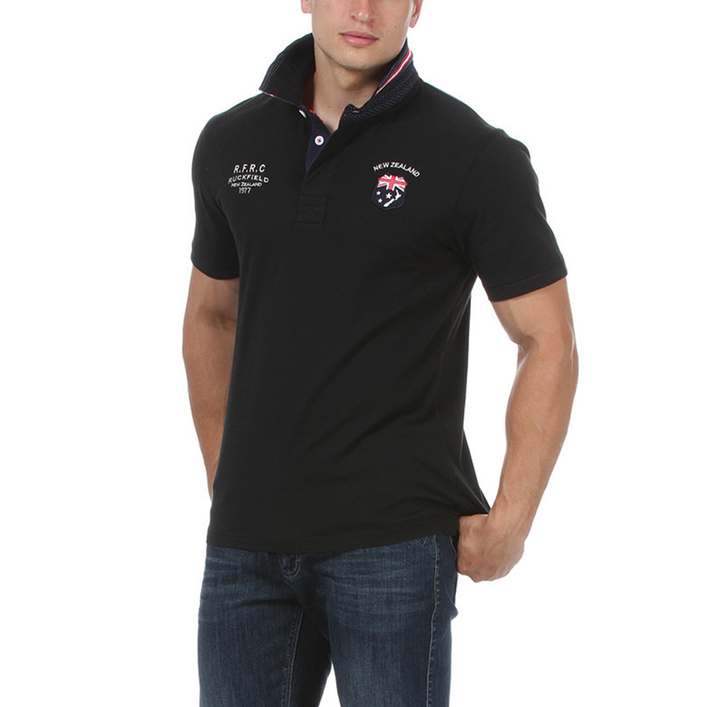 Black test match rugby polo ruckfield for Big and tall polo rugby shirts