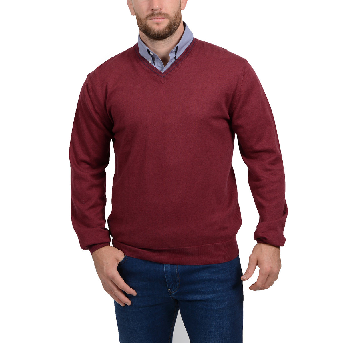 6c77a8402a73 pull homme col V bordeaux - RUCKFIELD