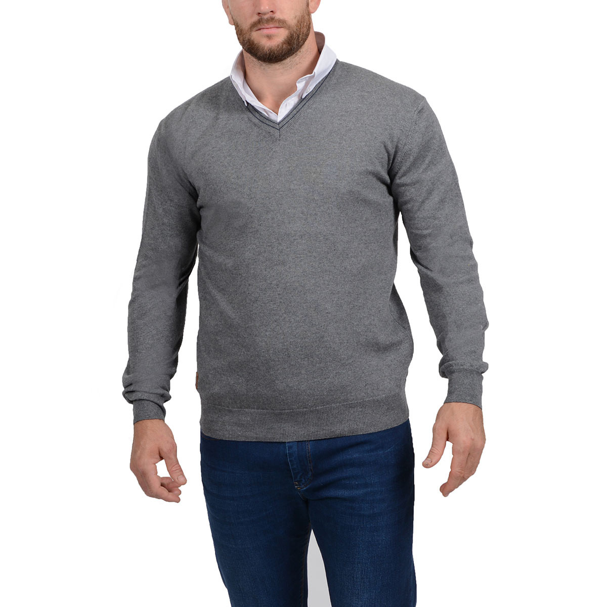 9876d718f10f Pull homme col V gris - RUCKFIELD